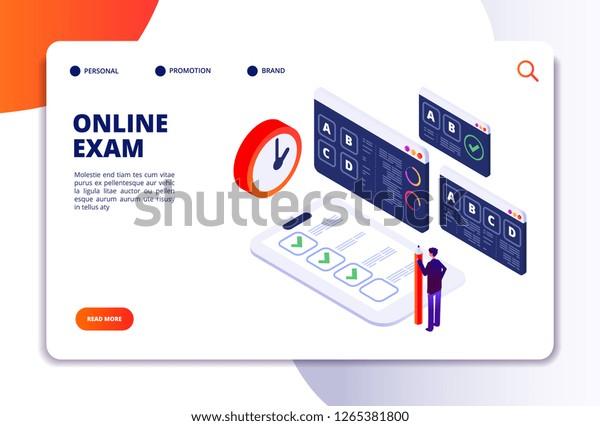 Online Exam Isometric Concept Internet Questionnaire Stock