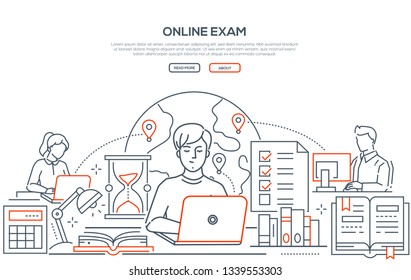 Online exam - line design style web banner on white background with copy space for text. A header with students passing a test on laptops, computers. Images of globe, check list, hourglass, books
