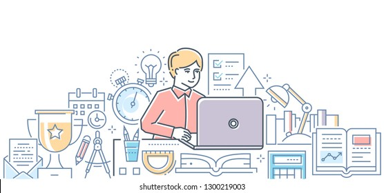Online exam - modern line design style illustration on white background. Colorful composition with a student passing a test on laptop. Images of timer, certificate, calendar, school supplies, prize