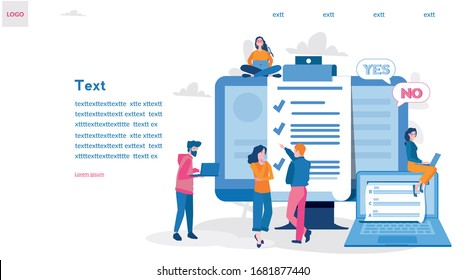 Online exam, questionnaire form, online education, survey, internet quiz. Vector illustration for web banner, infographics, mobile Survey or exam form long paper sheet with answered checklist, yes no