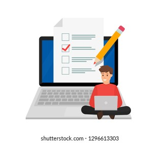 Online exam. Student sitting on big laptop with checklist and pencil. Questionnaire form. Vector illustration. Flat design. EPS 10.