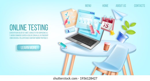 Online-Prüfung, Vektor-Webtest, Internet-Bildungslandung, Heimarbeitsplatz, Laptop-Bildschirm, Kalender. Digitales Quiz, Fragebogen. Schule, E-Learning an Universitäten, Online-Prüfungsbanner, Hintergrund