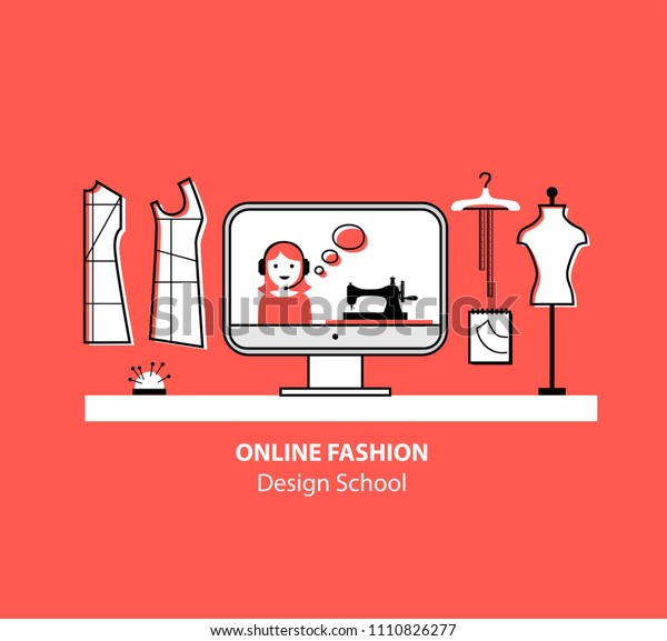 Online Fashion Design School Set Mannequin Stock Vector Royalty Free 1110826277