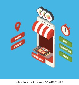 Online fast food order and delivery concept, giant isometric smartphone with japanese food, sushi set bento, chopstick and wasabi on tray, shop, counter, big sign, stopwatch and buttons