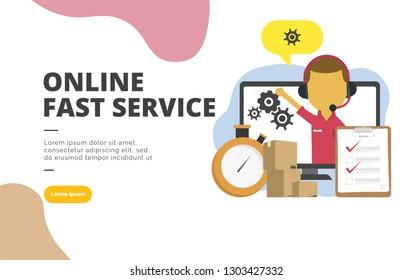 Online Fast Service flat design banner illustration concept for digital marketing and business promotion
