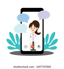 Online female doctor, future medical consultant with patients through mobile screens , bubble speech conversations. Vector illustration flat