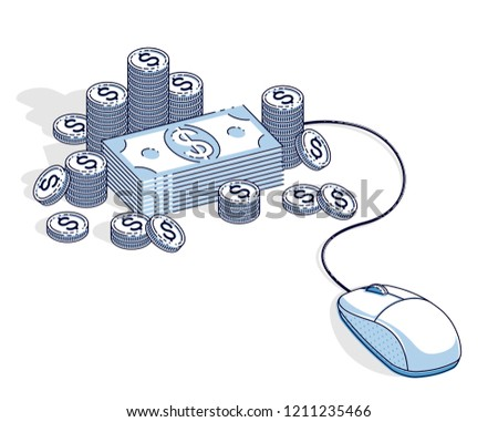 online finance concept web payments internet stock vector (royaltyonline finance concept, web payments, internet earnings, online banking, cash money stacks with computer mouse connected to piles
