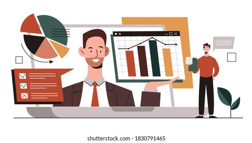 Online financial consulting concept with a business analyst who shows graphs and charts on a laptop screen. Flat cartoon vector illustration