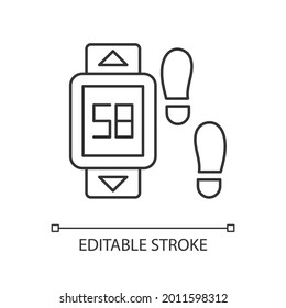 Online fitness pedometer device linear icon. Walking style. Step count display. Thin line customizable illustration. Contour symbol. Vector isolated outline drawing. Editable stroke