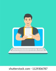 Online fitness trainer concept. Vector flat illustration. Young asian man gym instructor holds a clipboard with training program. Weight loss plan using computer. Healthy lifestyle support by web