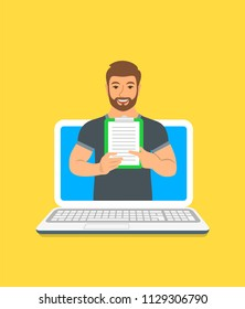 Online fitness trainer concept. Vector flat illustration. Young man gym instructor holds a clipboard with training program. Weight loss plan using computer. Healthy lifestyle support by web
