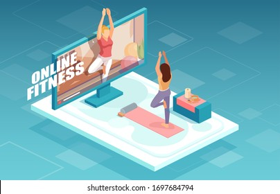 Online fitness and training concept. Vector of a fit woman practicing yoga together with fitness instructor on TV screen.  - Shutterstock ID 1697684794