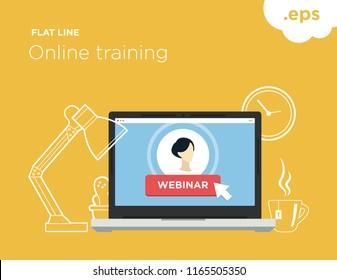 Online flat-line training. Illustration for online training webinar.