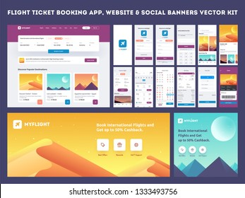 Online Flight Booking App onboarding website banner or template kit, Travel, Insurance, Air ticket; Holiday planning, Book your air flight and Flight No.