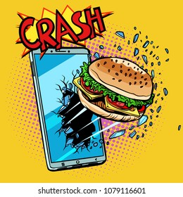 Online food delivery concept, Burger and smartphone. Pop art retro vector illustration comic cartoon kitsch drawing