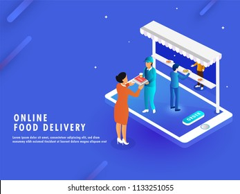 Online Food Delivery concept, isometric view of e-shop or restaurant on smartphone screen, delivery boy delivered the order to the destination point.