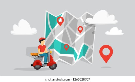 Online food delivery concept set. Food order in the internet. Add to cart, pay by card and wait for courier. Isolated flat vector illustration