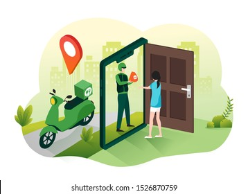 Online food delivery service concept. Fast food shipping with courier and scooter illustration for webpage, landing page, infographic and banner