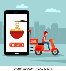Online food order and food delivery service concept vector illustration. Asian food or noodle online ordering. Uber eat, grab food in flat design for landing page, web, mobile app, poster, flyer.