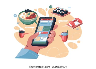 Online food order via phone vector illustration. Smartphone app with menu flat style. Online shopping, delivery service, takeaway concept