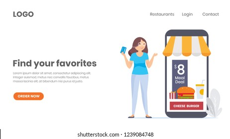 Online food ordering business. online purchase. web page design