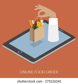 Online Food Ordering Concept Flat Isometric Vector Illustration of Hand With Bag of Foods Appeared From Smartphone or Tablet.