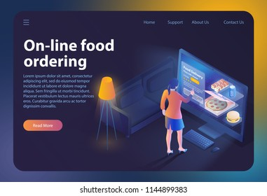On-line Food Ordering. Online Ordering and Fast Food Delivery. Online Order Meal in Cafe. Girl looks Menu on Website. Vector Isometric Illustration for Online Food Ordering. Landing Page Banner.