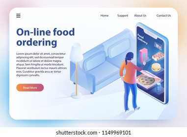 On-line Food Ordering. Online Ordering and Fast Food Delivery. Food Order Application. Woman looks Menu on Website. Vector Isometric Illustration for Online Food Ordering Concept. Landing Page Banner.