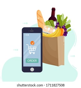 Online food ordering from supermarket using mobile app. Smartphone screen with order button and paper bag icon full of products. Online store concept for infographics, web design. Vector illustration.