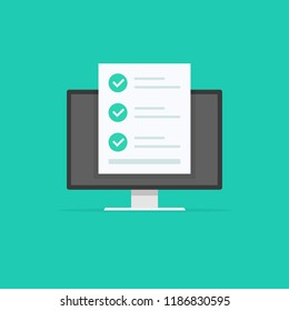 Online form survey, check mark monitor with showing long quiz exam paper sheet document icon, on-line questionnaire results, check list or internet test. Check mark icon. Vector illustration.