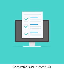 Online form survey, monitor with showing long quiz exam paper sheet document icon, on-line questionnaire results, check list or internet test. Vector illustration