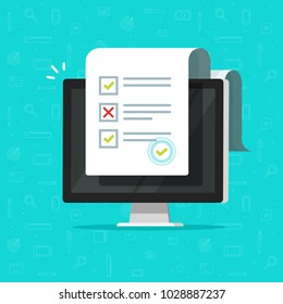 Online form survey on computer vector illustration, flat cartoon desktop pc showing long quiz exam paper sheet document icon, on-line questionnaire results, check list or internet test