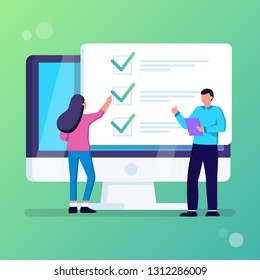 Online form survey on computer vector illustration, flat cartoon desktop pc showing exam paper sheet document icon, student and teacher talking about results