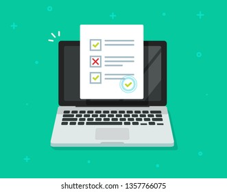 Online form survey on laptop vector, computer quiz exam paper sheet document, on-line questionnaire results flat cartoon design, digital check list or internet test, electronic study or education