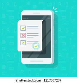 Online form survey on smartphone vector illustration, flat mobile phone with quiz exam sheet document icon with approved stamp, on-line questionnaire results, check list or internet test on cellphone