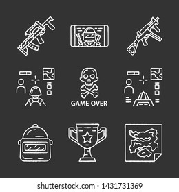 Online game inventory chalk icons set. Esports, cybersports. Weapon, gun, 3d and from first person shooter, game over, map, trophy, helmet, mobile game. Isolated vector chalkboard illustrations