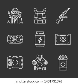 Online game inventory chalk icons set. Esports, cybersports. Soldier, body armor, weapon. First aid kit, energy drink, bandage, painkiller, shooting aim. Isolated vector chalkboard illustrations