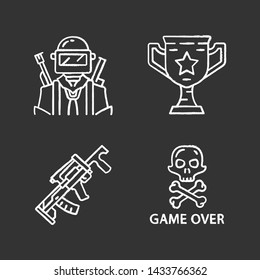 Online game inventory chalk icons set. Esports, cybersports. Battle royale. Computer, video game equipment. Soldier, winning cup, weapon, game over. Isolated vector chalkboard illustrations