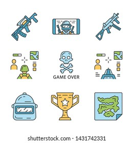 Online game inventory color icons set. Esports, cybersports. Weapon, gun, 3d and from first person shooter, game over, map, trophy, helmet, mobile game. Isolated vector illustrations