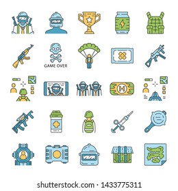 Online game inventory color icons set. Shooter from first person. Online multiplayer battle royale. Esports, cybersports equipment. Computer, video game tools. Isolated vector illustrations