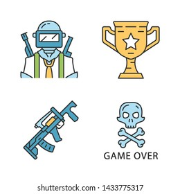 Online game inventory color icons set. Esports, cybersports. Battle royale. Computer, video game equipment. Soldier, winning cup, weapon, game over. Isolated vector illustrations