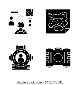 Online game inventory glyph icons set. Esports, cybersports. Battle royale. Computer game equipment. Map, container, shooting aim, 3d shooter. Silhouette symbols. Vector isolated illustration