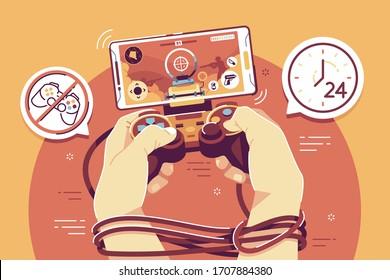 online gaming addictive flat vector illustration