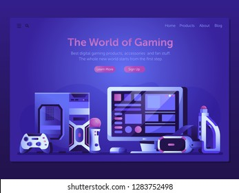 Online gaming landing page template with VR headset, controllers, PC system unit and other devices. Playing computer games web banner. Augmented reality and online game playing web illustration.