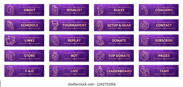 Online gaming panels for cybersport streamers. Live stream banners design. Set of game icons and buttons: wish list, training, web links, donations, chat programs. Eps10 vector