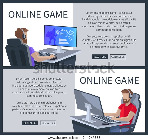 Online Gaming Web Posters Set Man Stock Vector (Royalty Free) 744762568