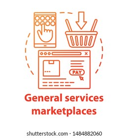Online general services marketplaces concept icon. On demand economy, e commerce idea thin line illustration. Smartphone, browser window and shopping basket vector isolated outline drawing