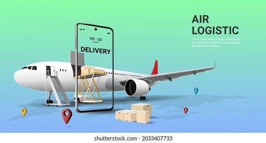 Online global transportation  delivery service on mobile by airplane. Air freight logistics. Online order. airplane, aircraft, warehouse, cargo and parcel box. website, banner. 3D Vector illustration