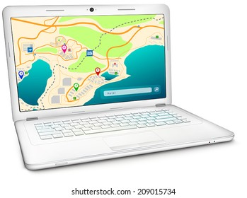 Online GPS city map on display of modern silver notebook computer. Vector illustration, isolated on white background