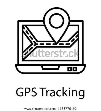 online gps tracker on laptop screen stock vector royalty free